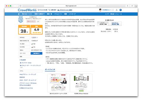 クラウドワークス のプロフィールページ